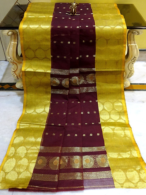 Bengal Handloom Cotton Saree with Starch in Wine, Yellow and Gold