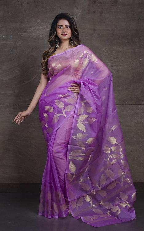 Muslin Jamdani Saree in Lavender and Gold