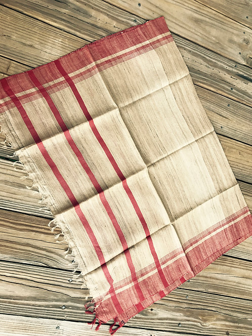 Woven Tussar Dupatta in Beige and Red