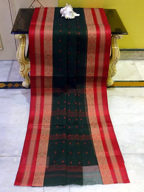Bengal Handloom Cotton Hazar Buti Saree in Black and Red