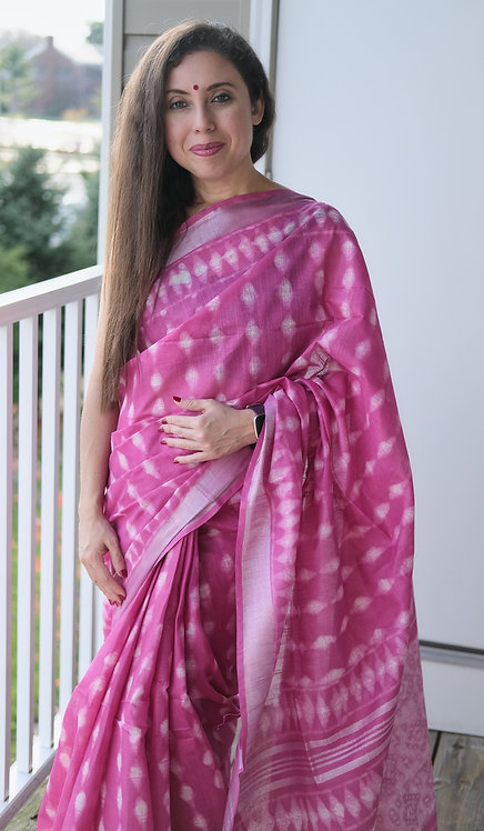 Block Printed Linen Cotton Saree in Pink and Silver