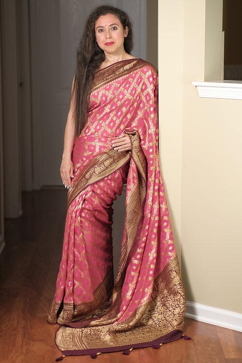 Pure Crepe Georgette Jaal Work Banarasi Saree in Pink, Maroon and Gold