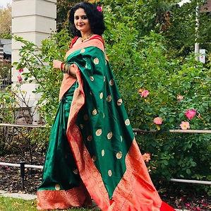 Bengal Looms Diva Babita from Canada in  Pure Katan Silk Banarasi Saree