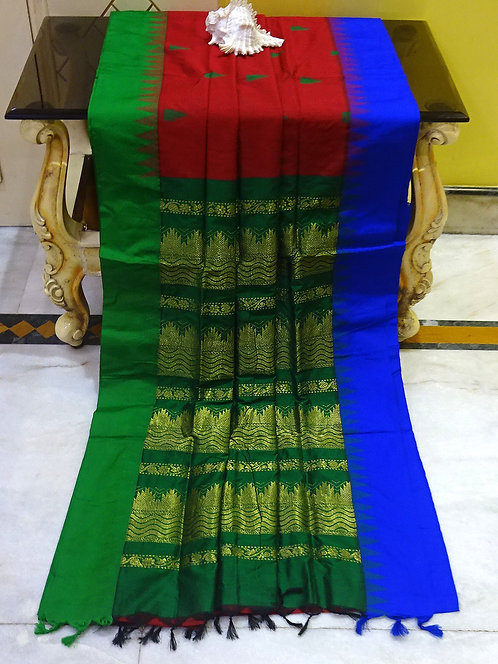Soft South Cotton Gadwal Saree in Red, Green and Blue