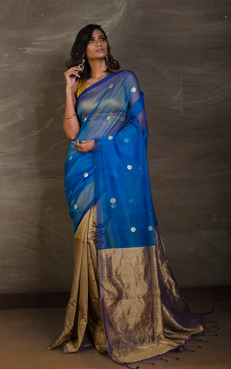 Half Matka and Half Muslin Saree in Blue and Brown