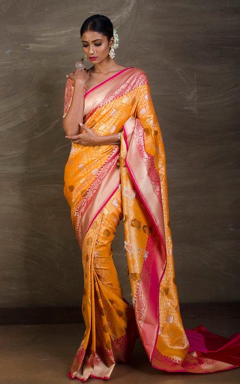 Semi Tussar Brocade Banarasi Saree in Yellow and Rani