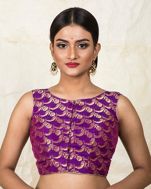 Purple Banarasi Sleeveless Blouse in Size 32