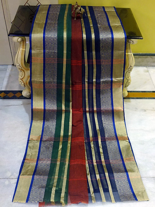 Bengal Handloom Cotton Saree with Starch in Rust, Green and Blue
