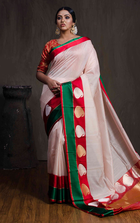 Cotton Banarasi Saree with Satin Border in Off White, Red and Green