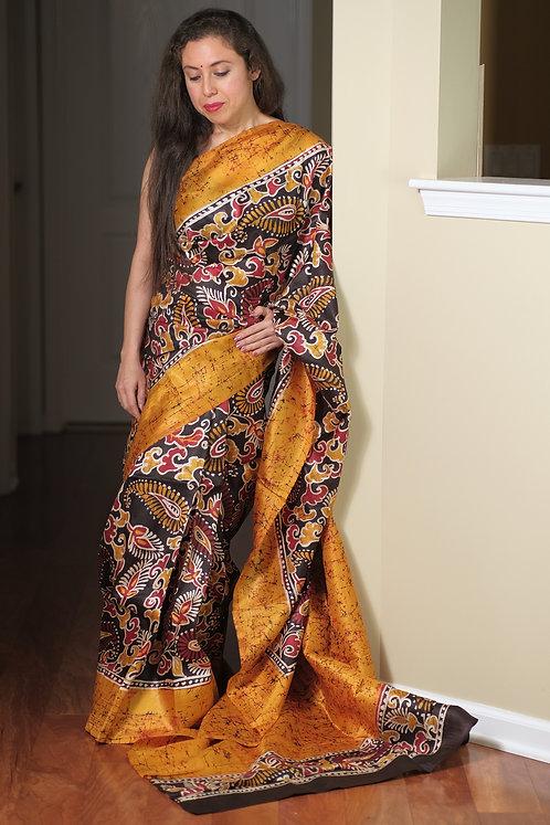Hand Batik Bishnupur Pure Silk Saree in Yellow, Brown and Red