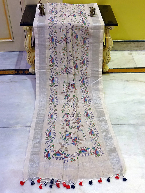 Printed Soft Woven Cotton Linen Saree in Light Khaki and Silver
