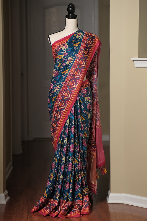 Pure Modal Silk Patola Saree in English Blue and Pink