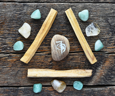 Reiki Symbol with Healing Crystals and Palo Santo