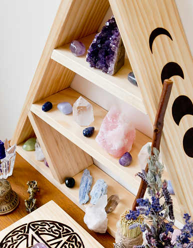 Altar with Herbs and Chakra Healing Crystals