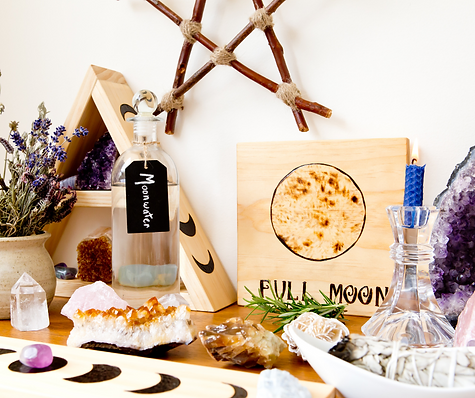 Full Moon Altar Setup for Ritual with Herbs, Crystals, Moonwater and Branch Pentagram