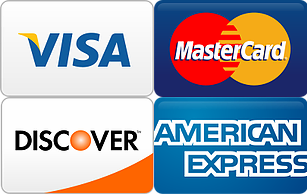 Infographic contains information. It displays the major credit cards accepted. Visa, MasterCard, Discover, and American Express, accepted by Simply Psychology.