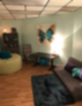 The office of Simply Psychology LLC. It is a relaxing, slightly dim atmosphere with a soft rug, bean bag chair, and a butterfly painting on the wall. Located in Phoenix, Arizona, an excellent child psychologist.