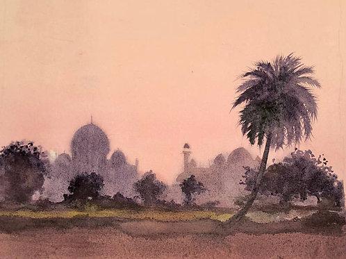 Le Taj Mahal au crépuscule - 26X21 cm