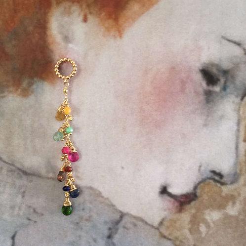Pendants d'oreilles grappe pierres fines multicolores