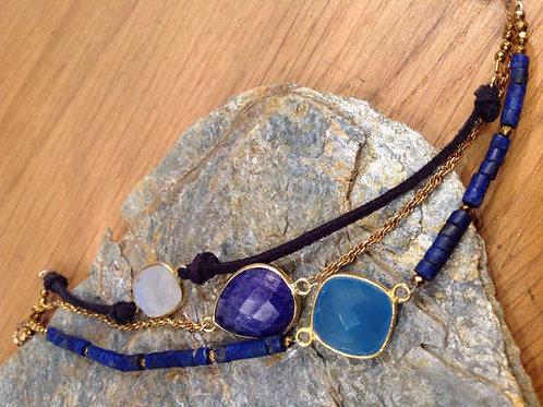 Bracelet 3 rangs lapis lazuli