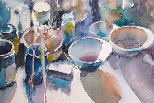 Bol et pinceaux (d'après Marc Folly) - 20x20 cm