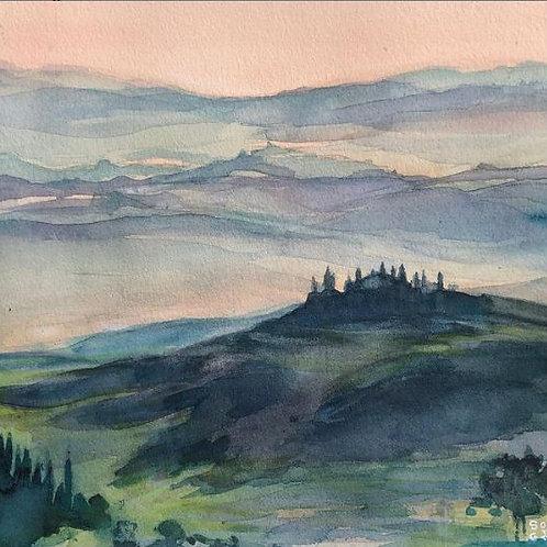 Paysage de Toscane - 24X24cm