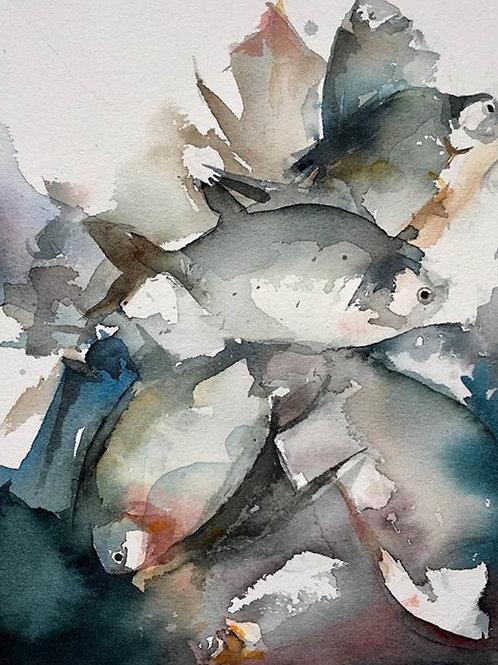 Marché aux poissons (d'après Lars Lerin)