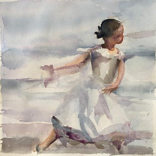 Jeune fille sur la plage. La leçon de piano (1/3) - 21x28 cm
