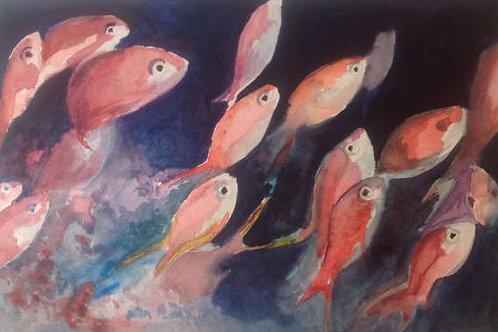 Banc de poissons - 35x25 cm
