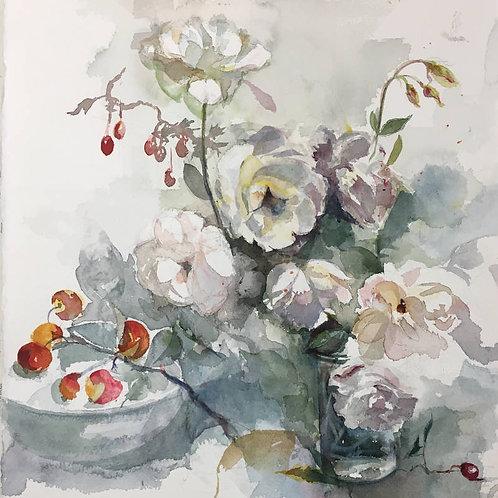 Roses et églantine - 25x35 cm