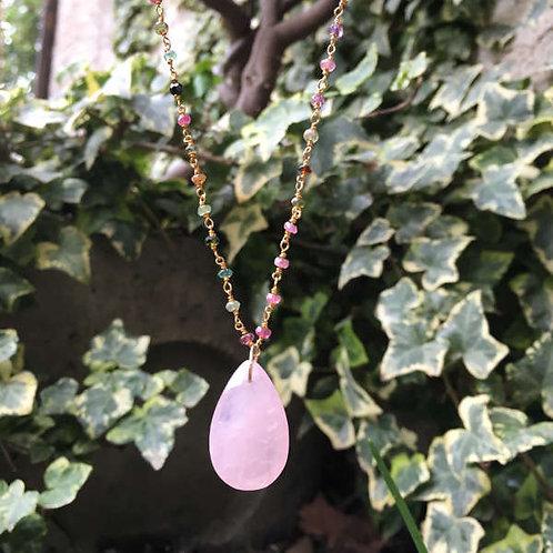 Sautoir tourmaline médaillon quartz rose
