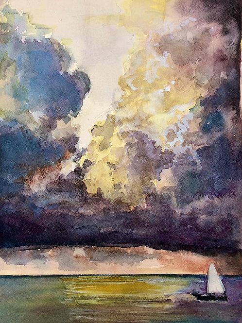 Ciel d'orage sur la mer - 30x21cm