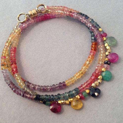 Bracelet3 rangssaphirs multicolores
