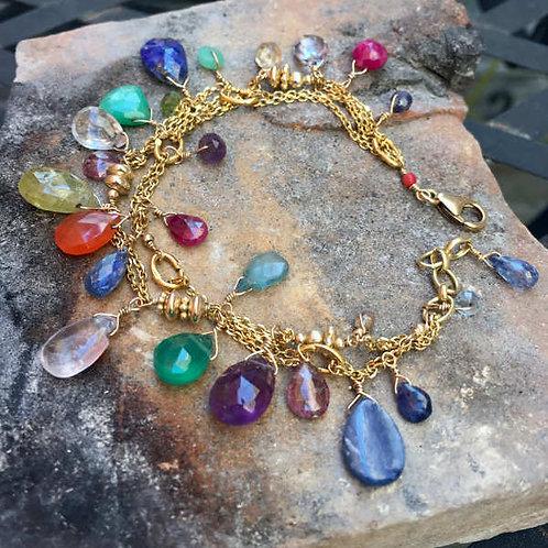 Bracelet multi rangs multicolore