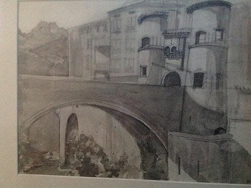 Entrevaux : le pont levis - 40x29 cm