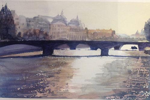 Pont du carroussel (d'après Charles Villeneuve) - 35x25 cm