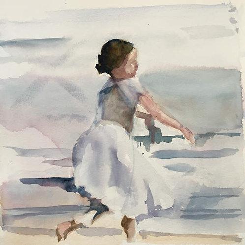 Jeune fille sur la plage. La leçon de piano (2/3)