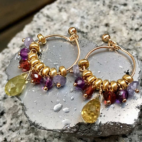 Créoles pierres multicolores goutte pierre fine