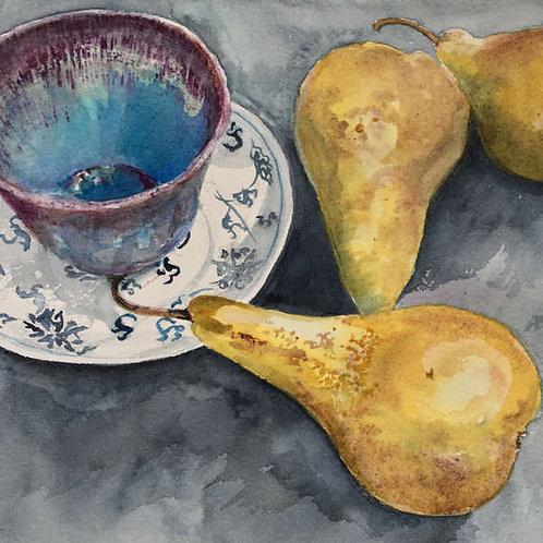 Poires et tasses de café - 30x25 cm