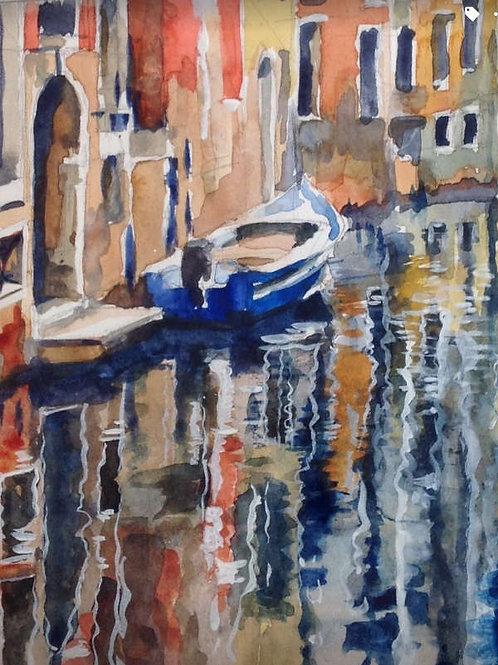 Venise : reflets sur le canal - 21x28 cm