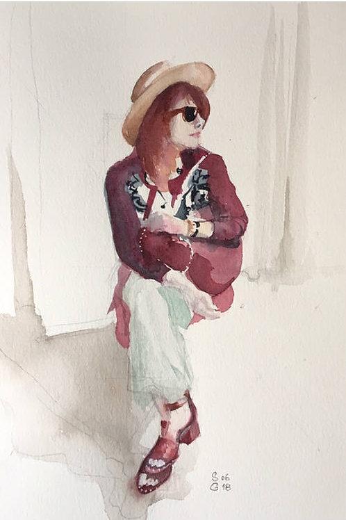 Femme assise - 15x22 cm