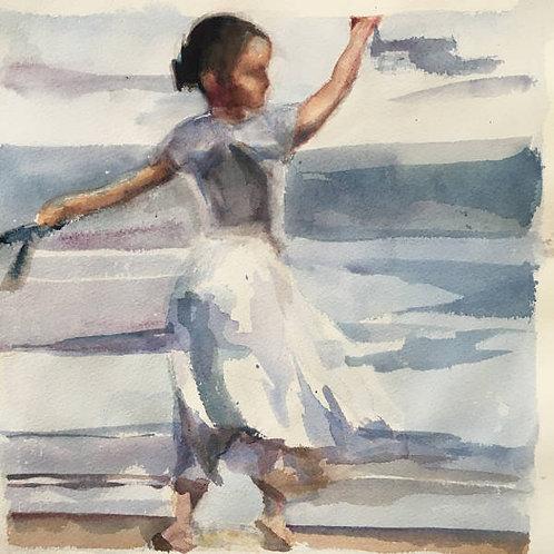 Jeune fille sur la plage. La leçon de piano (3/3) - 21x28 cm