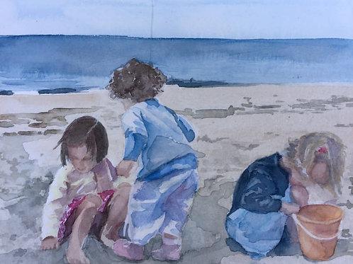 Enfants à la plage - 10x15 cm
