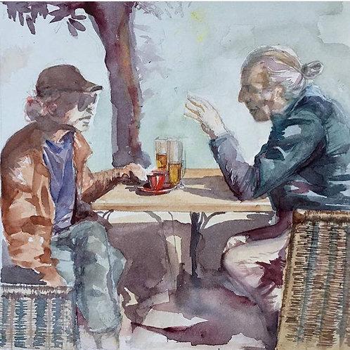 Bière et café à St Girons - 24x24cm