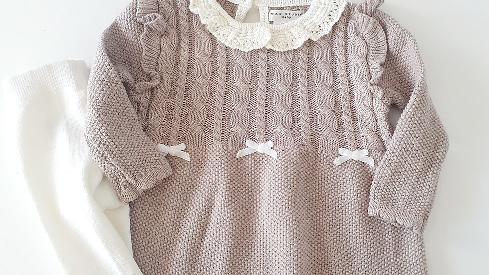 3-6 Month Max Studio  Knitted  Dress & Hat with tights ( Pre-loved)