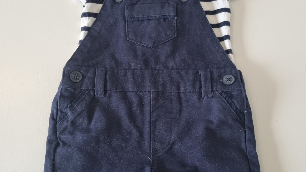 3-6 Month  M&S Short Dungarees & Top (Pre-loved)