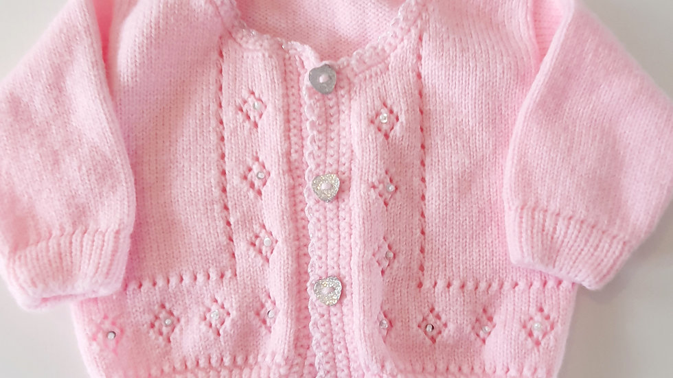 3-6 Month Knitted Cardigan with glitter detailing (Pre-loved)