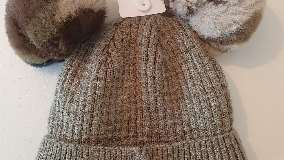 0-3 Month Nutmeg  Hat With 2 Pompoms (New With Tags)