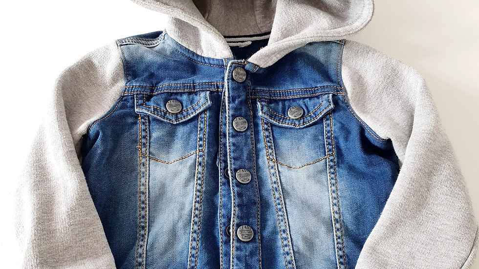 12-18  Month  Denim & Material Jacket with hood (Pre-loved)