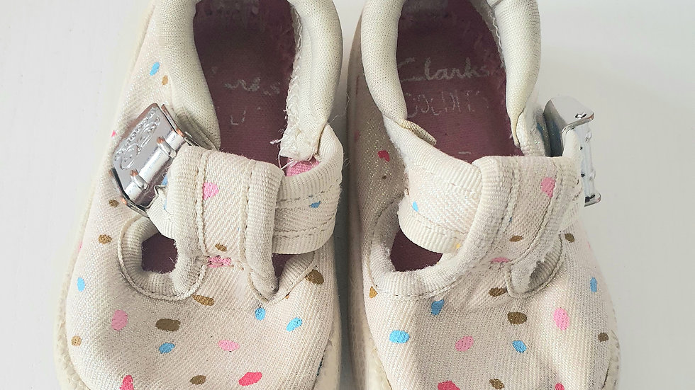 0-3  Month  Clarks Doodles Shoes with glitter detailing (Pre-loved)